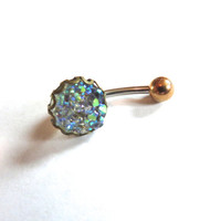 Icy Rainbow Druzy Crystal Cluster Geode Belly Button Ring Jewelry Navel Piercing Galactic Quartz Celestial Bar Barbell Stud