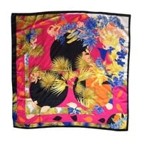 Pre-owned Versace Silk Twill Tropical Floral Scarf