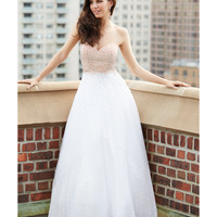 Madison James 15-100 Blush & White Embellished Strapless Tulle Gown 2015 Prom Dresses