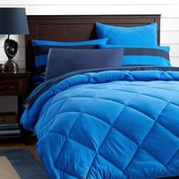 Classic Plush Comforter + Sham, Strong Blue
