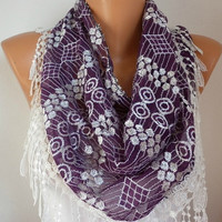 Purple Lace  Scarf    Headband Necklace Cowl with Lace by fatwoman