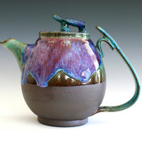 Bloom of Lilac Teapot Handmade Stoneware Teapot by ocpottery