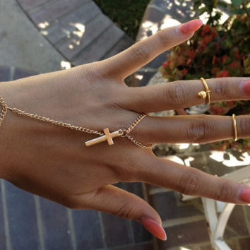 Gold Cross Ring Chain Harness, ringcelet