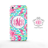 Monogram iPhone 5 Cover lobstah roll inspired pattern, custom monogram iPhone 5C Case, available for iPod Touch 4 iPod 5 Case