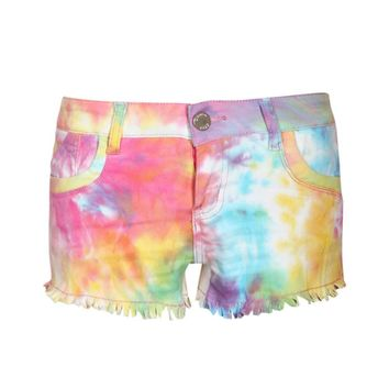 April All Over Tie Dye Print Denim Shorts