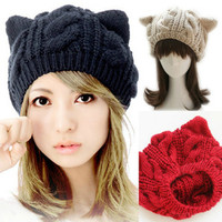 Women Devil Horns Cat Ear Winter Beanie Crochet Braided Knit Ski Wool Hat Cap