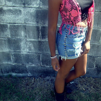 High Waisted studded vintage distressed shorts