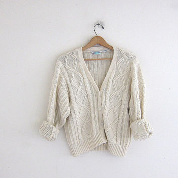 vintage off white sweater. cable knit cardigan sweater.