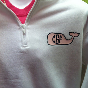 Vineyard vines inspired quarter zip with monogram and whale