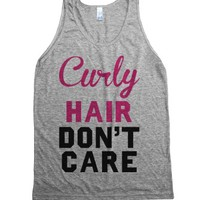 Curly Hair Don't Care-Unisex Athletic Grey Tank