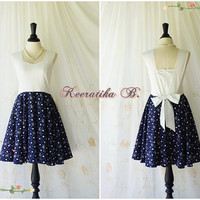 A Party Princess Vintage Retro Inspired Dress White Top Dress Navy Skirt Note Print Party Tea Dress Bridesmaid Dress Navy Skirt Custom Made