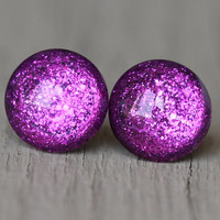 Fake Plugs : Bright Fuschia Glitter Stud Earrings, Neon, Sparkle, Painted, Handmade, Unique, Galaxy Studs