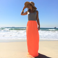 Double Take Neon Maxi Dress In Neon Coral