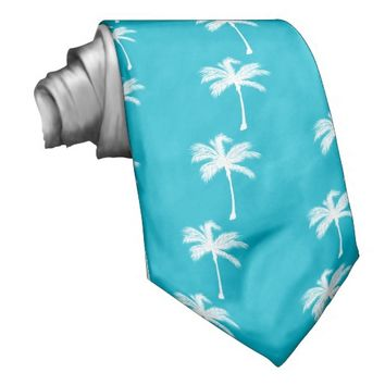 Palm Trees Beach Life Turquoise Tie.