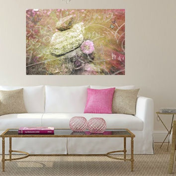 Art print of piles of stones in water with flower. Rock pile. Pink and green wall art. Hearts. Earthy. Bedroom. Living room art. Spa decor