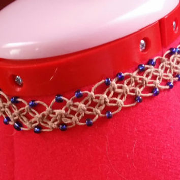 Handmade Hemp Knot Design With Blue Glass Beads Adjustable Choker Collar Necklace with READY TO SHIP