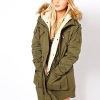 ASOS Fur Hooded Detachable Lined Parka