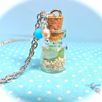 Sea Glass Vial Necklace, Hawaiian jewelry with sand & seashells in a jar, mermaid treasures pendant from Hawaii
