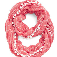 ModCloth Pom It Up Circle Scarf in Coral