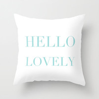 Velveteen Pillow - Hello Lovely - Aqua Blue Throw Pillow - Accent Pillow - Decorative Pillow - Girls Room Decor - Teen Decor - Tiffany Blue