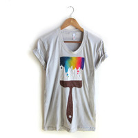 Paint Brush - Hand STENCILED Deep Scoop Neck Pinned Rolled Cuffs Tee in SIlver and Multi Rainbow - S M L XL 2XL 3XL