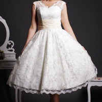 Retro 50s Tea Length Lace Wedding Dress with Cap Sleeves DV2058