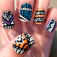 TriColor Aztec Fake Nails by CompulsiveNails on Etsy