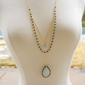 Long Necklace, Long Layered Necklace, Multi Layered Necklace, Delicate Necklace