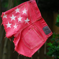 American Flag Mid to High waisted Shorts