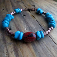 Hubei Turquoise, Red Jasper, Copper, Casual, Bright, Stacking, Stone Bracelet