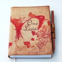 Free initials One Love leather journal by revitalbookarts on Etsy