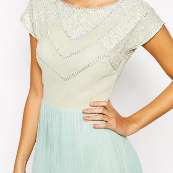True Decadence Petite Bead Embellished Pleated Skater Dress