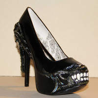Alien giger heels custom handpainted Made to order gothic cyber