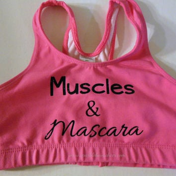 Muscles and Mascara Cotton Sports Bra Cheerleading, Yoga, Running, Working Out