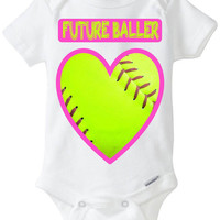 "Funny Baby Gift: Embellished Gerber Onesuit brand body suit - ""Future Baller"" Softball Heart Valentines Day Baby Shirt! Sports Baby Girl!"
