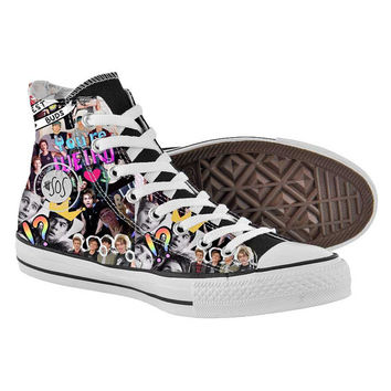 5sos collages,High Top,canvas shoes,Painted Shoes,Special Christmas Gift,Birthday gift,Men Shoes,Women Shoes
