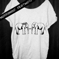ELEPHANT Shirt,  Bohemian. Tshirt, Off The Shoulder, Over sized,   graphic tee, Mizzombie grunge gypsy
