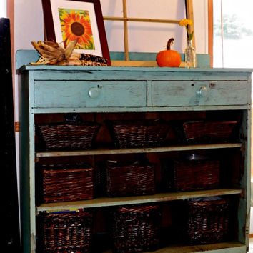 Shabby Chic Turquoise Cabinet / Buffet by smalltowngirlgladys