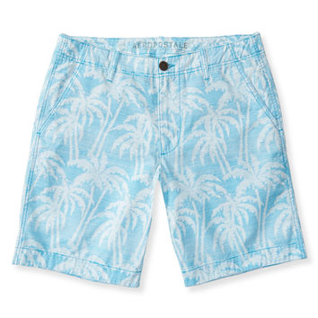 Palm Tree Pinstripe Flat-Front Shorts