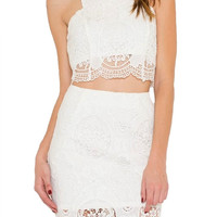 Halo Lace Two Piece Set - White