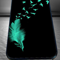 Feather to Birds Black Mint Stamp Out Tumblr Inspired Cute Cool  for iPhone 4/4s/5/5S/5C/6, Samsung S3/S4/S5 Unique Case *95*
