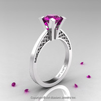 Modern Armenian 14K White Gold Lace 1.0 Ct Amethyst Solitaire Engagement Ring R308-14KWGAM