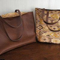Reversible Mayan Brown Leather Bag
