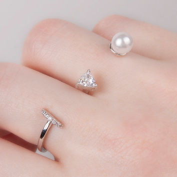 Crystal and pearl double ring , silver triangle crystal , two finger ring , Statement Ring, Silver stacking adjustable ring bridesmaids gift