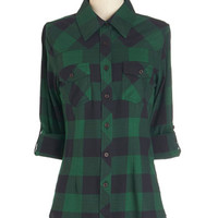 ModCloth Mid-length Long Sleeve Simply Scout Top in Pine