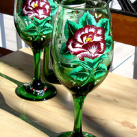 Hand Painted Red Rose Valentines Day Wine Glasses