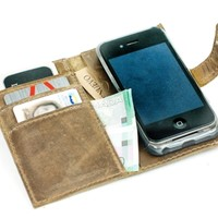Supermarket: Leather iPhone Case Wallet - Distressed Leather Phone Wallet - Retromodern from Divina Denuevo