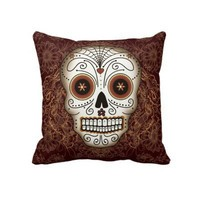 Vintage Sugar Skull Pillow from Zazzle.com