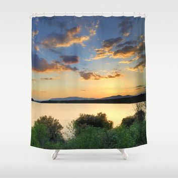 Sunrays at the lake. Spring dreams Shower Curtain by Guido Montañés