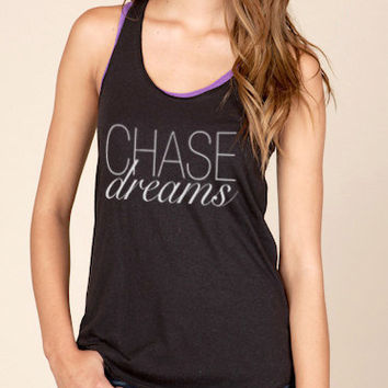 Chase Dreams Eco Heather Racerback Tank Top in Black